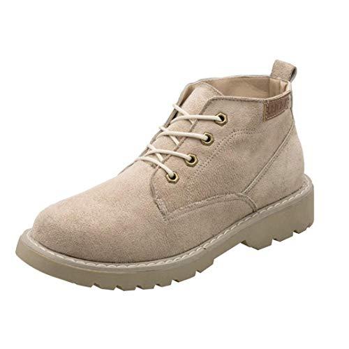 UOKNICE Women' Shoes Fashion Flock Ankle Flat Oxford Casual Flock Lace-Up Shoes Short Boots(Khaki, CN 39(US 7))