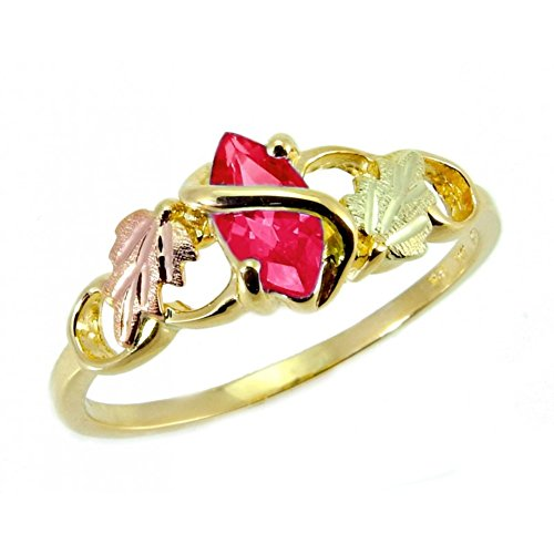 Lab Created Ruby Marquise Wrap Ring, 10k Yellow Gold, 12k Pink and Green Gold Black Hills Gold Motif, Size 7.75 by Black Hills Gold Jewelry