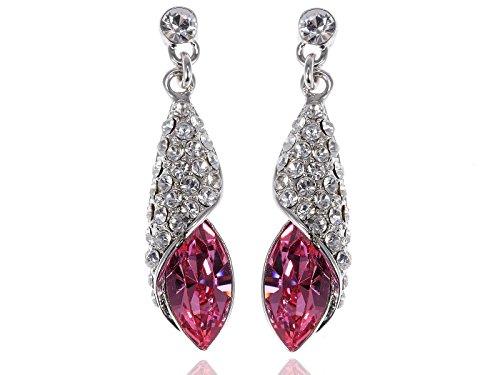 - Alilang Silvery Tone Hot Pink Rhinestones Shell Wrap Dangle Drop Earrings