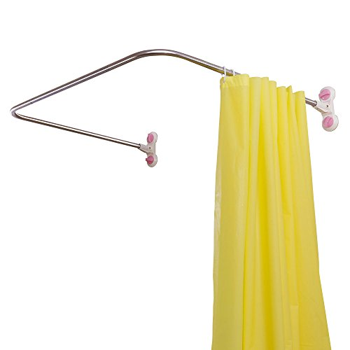 Not Decorative Shower Rod - Baoyouni Bathroom U Shaped Corner Shower Curtain Rod Pole, Decorative Curved Bath Curtain Rail Bar with Suction Cup 38.5'' x 40''
