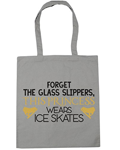 HippoWarehouse Forget the glass slippers, this princess wears ice skates Tote Shopping Gym Beach Bag 42cm x38cm, 10 litres Light Grey