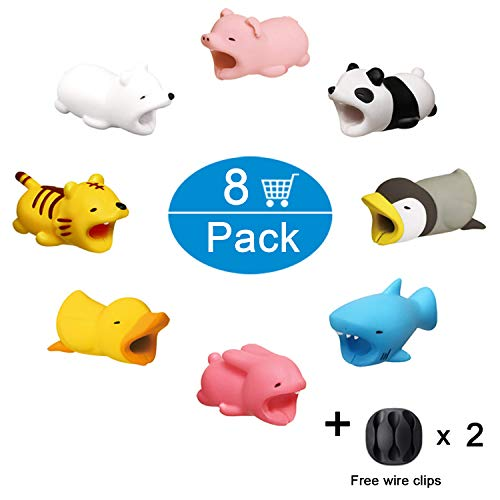 Cable Bites Animal Bite Cable Protector Ewadoo 8 Pack Super Cute Charging Cords Organizer Wires Protect Saver Compatible with iPhone & iPad Cables