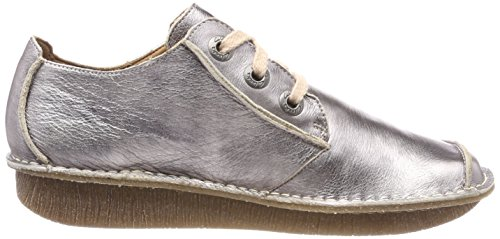 Mujer Beige Brogue Dream Cordones Zapatos Pewter Metallic para Funny Clarks de F84q0pw
