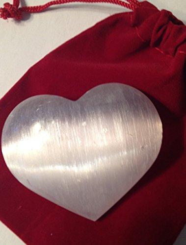 - DINOSAURS ROCK Selenite Mineral Heart Gift Packaged Red Velvet Bag - Great Gift!