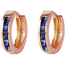 1.3 Carat 14k Solid Rose Gold Hoop Huggie Earrings Sapphire