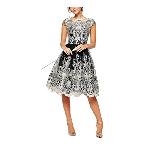 Fodera Nero Vestiti Da Giroccollo colore Vintage Tulle Sera Principessa Xl Trasparente Abito Ricamato Cerimonia In Donna Nero Elegante Dimensione wZOw1q