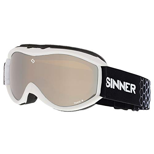 SINNER Toxic S Snow Goggles One Size Matte White ~ Double Orange Mirror (Sinner Goggles)