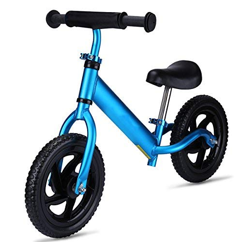 OUTON No Pedal Balance Bike for Kids Aluminum Frame Child Learning Bike 18 Month to 5 Years 12 Inch Wheels 4.3lbs Blue