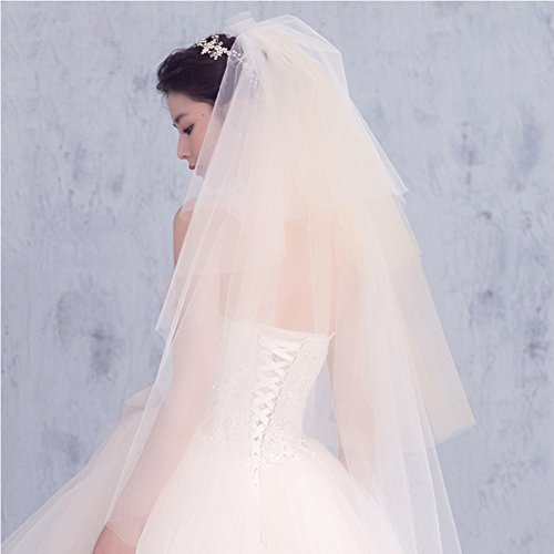 NITIUMI ウエディング ミディアム ベール 花嫁ベール ブライダルベール 純白 レース刺繍 長いベール ロング 花嫁用