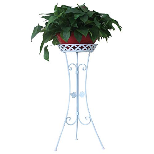 Flower Stand Thickened Wrought Iron Flower Stand European Single-Layer Living Room Floor Balcony Folding Green Flower Stand Flower Stand 2 (Color : White, Size : B)