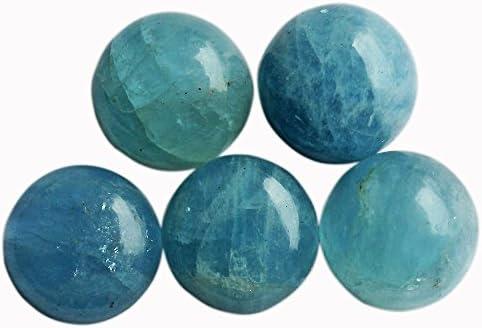 Good quality natural blue aquamarine 7mm Aquamarine round shape cabochons 3 pcs Lot.