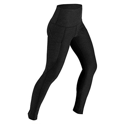 Lixada Femmes Taille Haute yoga Pantalons Ventre Contrôle Entraînement Running 4 Way Stretch Yoga Leggings Collants avec Poche