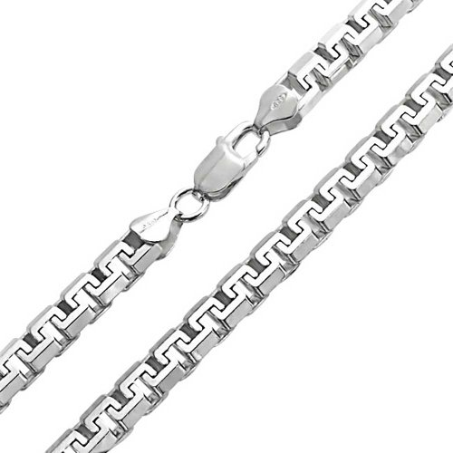 - Heavy Solid Franco Square Chain Necklace Link For Men Greek Key .025 Gauge For Men 925 Sterling Silver Made Italy 20 In