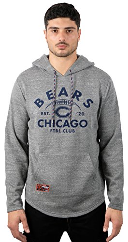 NFL Men's Chicago Bears Fleece Hoodie Pullover Sweatshirt Vintage Snow, Medium, Gray (Bears Fleece Sweatshirt)
