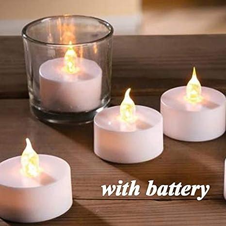 Velas de té sin llama, 13 unidades de velas de té LED, funciona con pilas, realistas, parpadeantes, velas falsas, ámbar cálido, el mejor ideal para ...