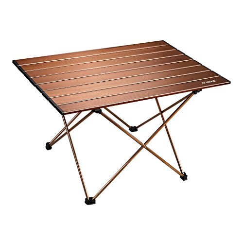 (ENKEEO Foldable Camping Table Portable Aluminum Desk with Carry Bag for Picnic, BBQ, Fishing, Hiking and Travel (Brown, XL))