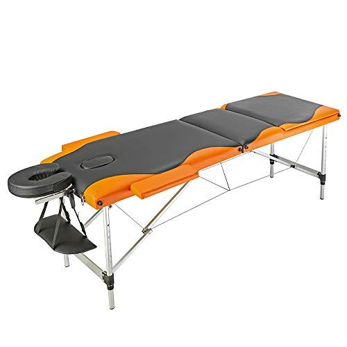 Teekland Portable Folding Massage Table w/Free Carry Case Facial SPA Bodybuilding Tattoo Bed Beauty Salon (3 Sections Black & Orange)