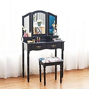 Giantex Tri Folding Mirror Bathroom Vanity Makeup Table Stool Set Home Furni W/4 Drawers