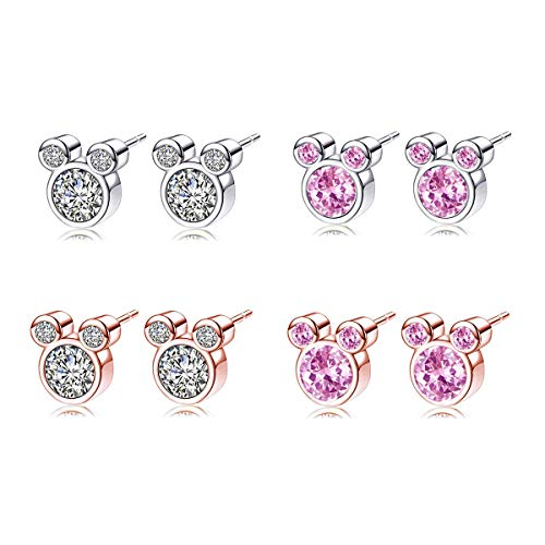 AIDSOTOU 4 Pairs Mouse Animal Stud Earrings Plated Silver Gold Cubic Zirconia Birthstone Earrings Stud for Women Girl Birthday Gift
