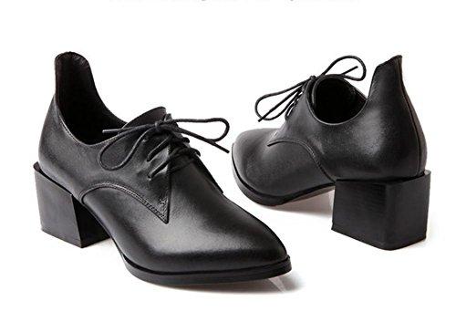 New Spring Zapatillas de mujer en el primer capa de piel con punta zapatos de encaje negro