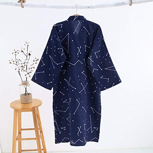 Parejas Larga Fashion Manga Camisón Simple Kimono Japoneses Algodón Mujeres Stars Ytfoplk Batas l Blue Albornoces qEFAHwAT