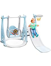 Toddler Slide and Swing Set 4-in-1 Baby Slide Set with Basketball Hoop Kids Fun Playing Climber Sliding Playset Safe Slide for Children Easy Set Up for Indoor Outdoor in Your Beautiful Backyard (blue)