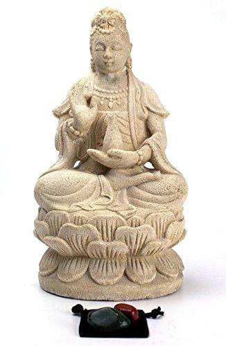 Imprints Plus Quan Yin Volcanic Stone Statue Indoor Outdoor Garden Statue with 2 Healing Stones and Velvet Pouch (4 Pc Bundle) 33800