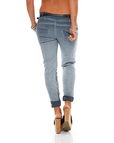 fantasy Stretch Ladies Pants Chinos 10912 stampa Boyfriend Jeggings Zarmexx Blu Baggy Letter Jeans YRvq0wd