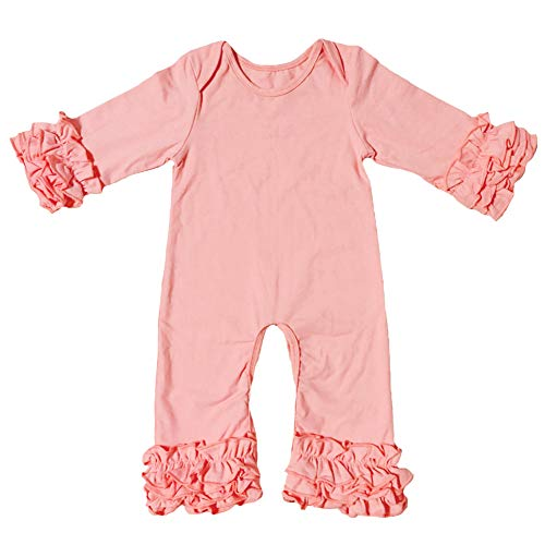 Icing Ruffle Jumpsuit Pants for Toddler Baby Girls Christmas Romper Triple Ruffled Bottoms Solid Long Sleeve Pajamas Nightwear Homewear Summer Fall Playwear Birthday Outfit Party Clothes Pink 0-3M