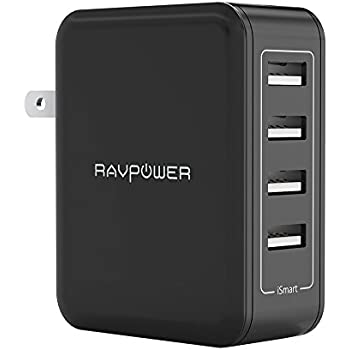 Wall Charger RAVPower 40W 4-Port USB Plug Charger 8A Charging Station for Smartphone, Tablet, External Battery Pack and Bluetooth Speaker - Black