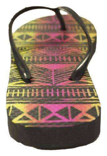 Sandalias Con Diseño Flip De Dos Tonos Neon Tribal Print Negro / Rosa