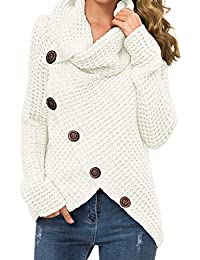 Women's Solid Color Chunky Button Pullover Sweater Turtle Cowl Neck Asymmetric Hem Knit Sweater
