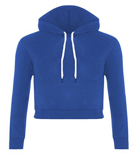 Minetom Mujer Color Sólido Manga Larga Sudaderas Con Capucha Crop Tops Capucha Sweatshirt Encapuchado Casual Pullover Azul