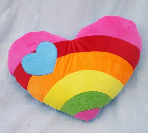 Rainbow Style Heart Shaped Plush Cushion