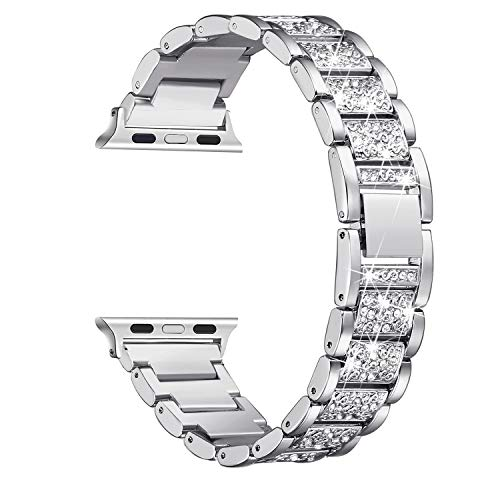 Secbolt Bling Bands Compatible Apple Watch Band 38mm 40mm Metal Replacement Wristband Compatible Iwatch Series 4 3 2 1, Silver ()
