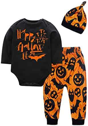 4b35f180a Infant Baby Boy Girl Happy Romper Outfits Bat Pumpkin Monster Pattern 3Pcs  Clothes Set