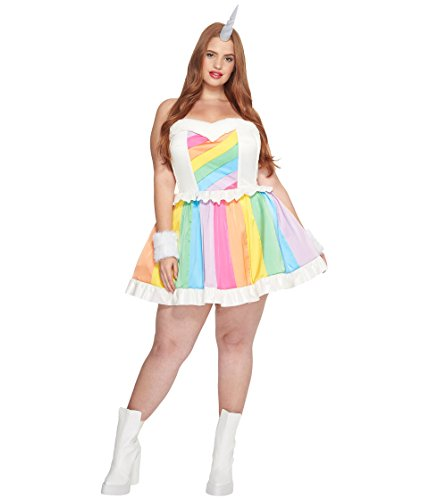 Rainbow Brite Horse Costume (Melonhopper Women's Plus Size Rainbow Rider Unicorn Costume Rainbow Pride )