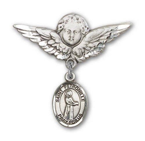 Icecarats Créatrice De Bijoux En Argent Sterling St. Petronille Charme Ange Broche De Badge 1 1/8 X 1 1/8