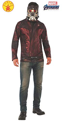 Movie Star Dress Up Costumes (Rubie's Adult 700719 Marvel: Avengers Endgame Star-Lord Costume Top and Mask, Color As Shown, Extra)