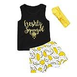 NUWFOR Toddler Baby Letter Print Vest Tops+Lemon Print Shorts+Headband Outfits Set(Black,2-3 Years)