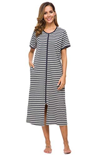Ekouaer Women Robes Zipper Front Knee Length House Coat with Pockets Striped Loungewear