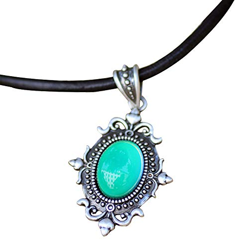 MOJO JEWELRY Mood Stone in Antique Sterling Silver Finish Gothic Flower Pattern Pendant Magic Color Change Leather Necklace Mood Necklace
