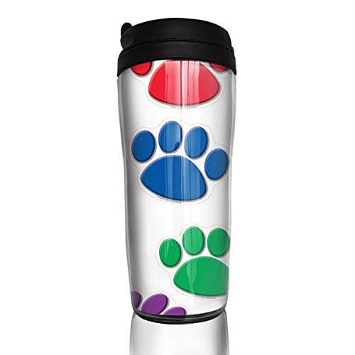 Coffee Mug Dog Paw Print Travel Tumbler Insulated Leak Proof Drink Containers Holder Customized 12 Ounces