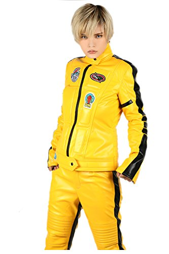 [Bill Bride Costume Deluxe PU Yellow Jacket Pants Adult Outfit Cosplay Full Suit S] (Beatrix Kiddo Costume)