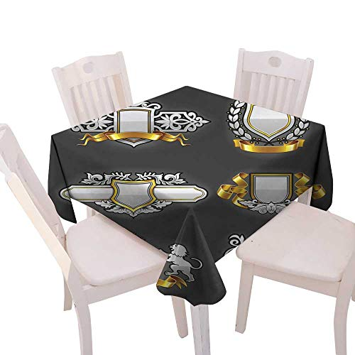 Silver Vintage Overlay (longbuyer Picnic Cloth Heraldic Vintage Emblems Set Silver and Gold Square Tablecloth W 54