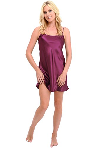 Alexander Del Rossa Womens Satin Nightgown, Long Camisole Chemise, 2X Deep Purple (A0766DPU2X)