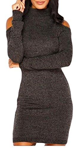 Cruiize Des Femmes De L'épaule Froid Élégante Tortue Cou Moulante Robe Pull Brun