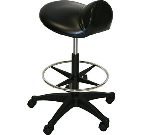 Black Footrest Saddle Stool Tattoo Medical Doctor Dentist Spa Salon Equipment