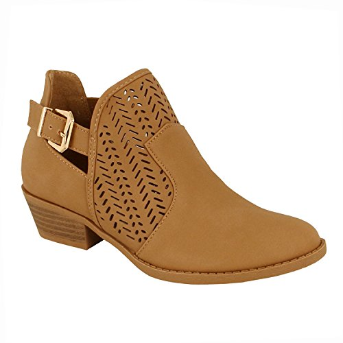 Guilty Schuhe Damen Blockabsatz Geschlossene Zehe - Riemchen Stiefeletten Tan Nubuk