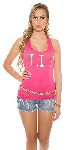 Koucla Sexy Top mit V.I.P. goldprint | Einheitsgröße | Ärmelfrei |Farbe: Rosa | T-Shirt